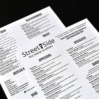Street Side Ale Houe disposable menus