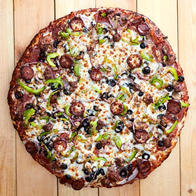Overhead View of a Medium Size Combination Pizza