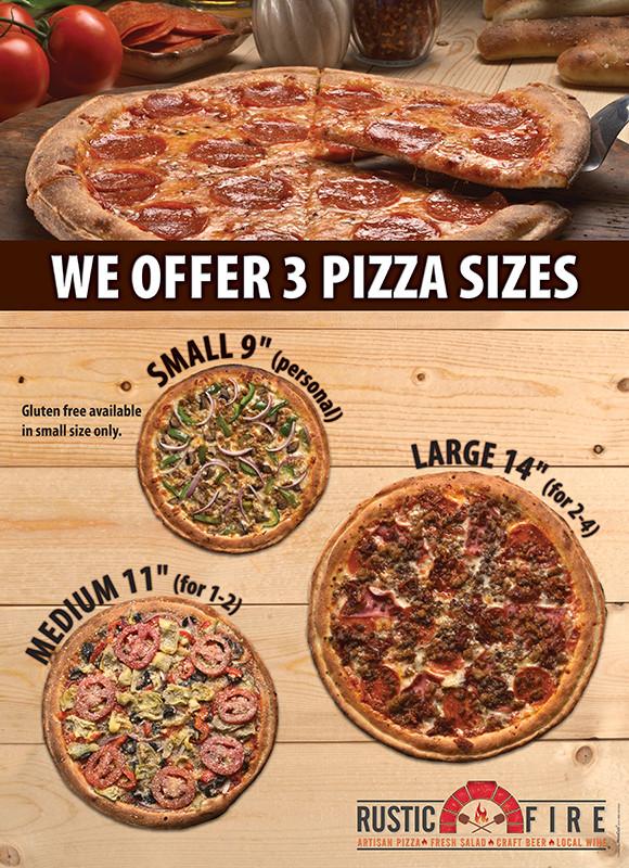 Rustic Fire pizza sizes menu board