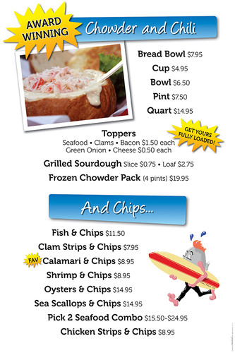 Splash Cafe chowder menu board