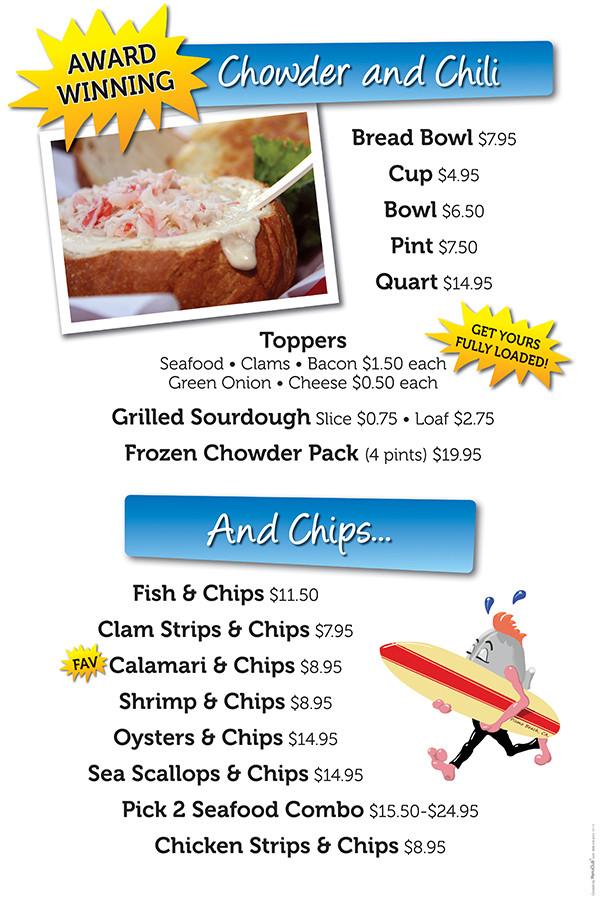 Splash Cafe chowder menu board