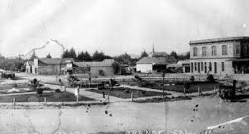 Black and white photo of City of Orange's Towne Square, 1888