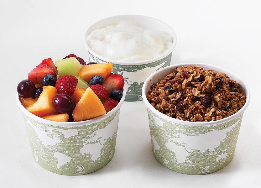 3 cups of yogurt, homemade granola, and delicious fresh fruit to make yogurt parfaits