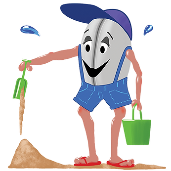 Illustration of clam person playing in sand with a shovel and bucket