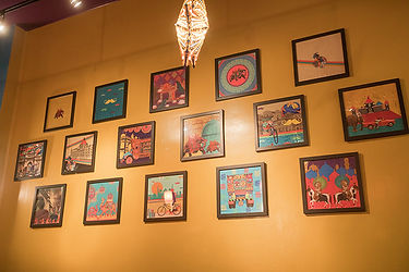 Framed colorful Indian artwork