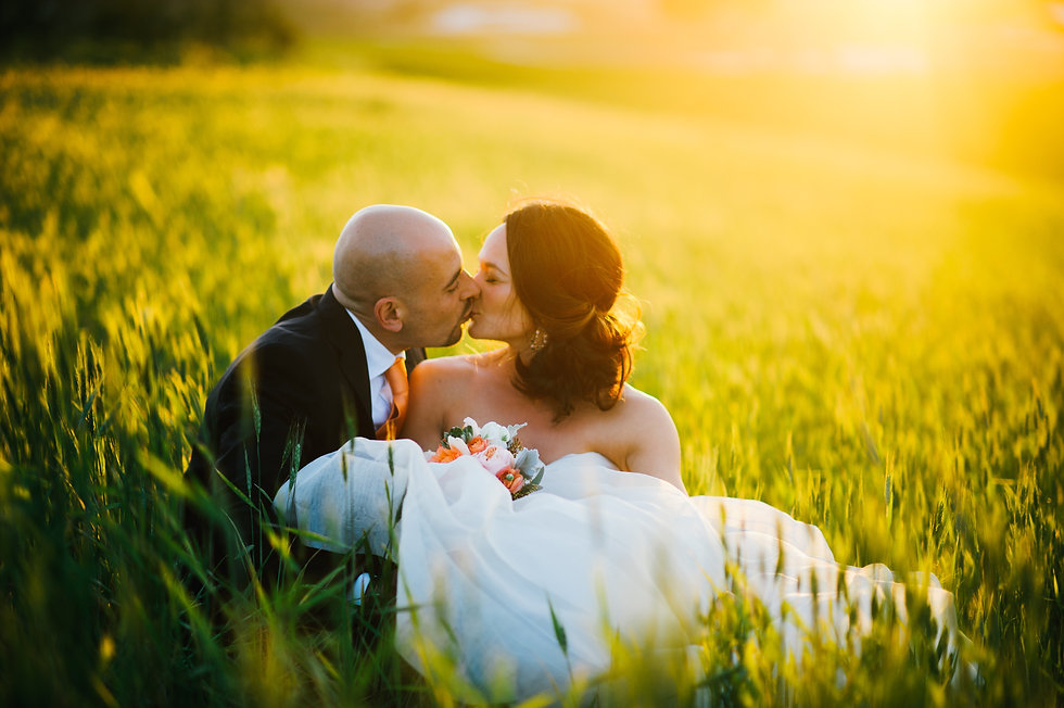 Bride and groom kissing, sitting in tall grass at the golden hour or sunset