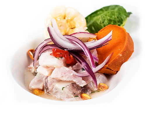 Ceviche with onion and yam