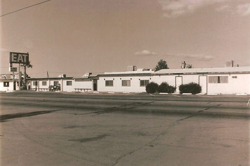 Black and white photo of original restaurant on Sierra Highway in the 1970s