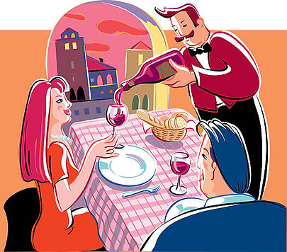 Clipart of server pouring wine for couple sitting at a table with bread basket and view of city