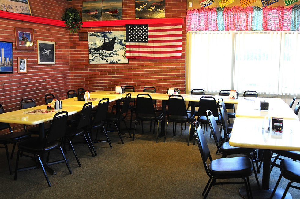Banquet room for private parties with plenty of tables and chairs