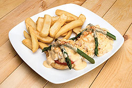 Open-face crab sandwich with fries