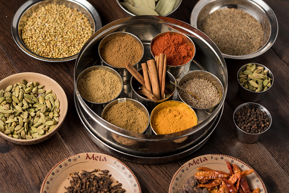 A variety of colorful spices used in Indian and Pakistani cooking