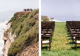 chairs lined up for a wedding ceremony overviewing coastline at Dos Pueblos Ranch