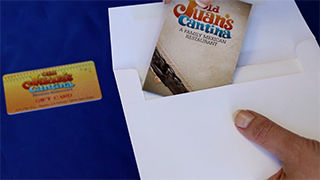 PocketMenu placed into envelope with gift card