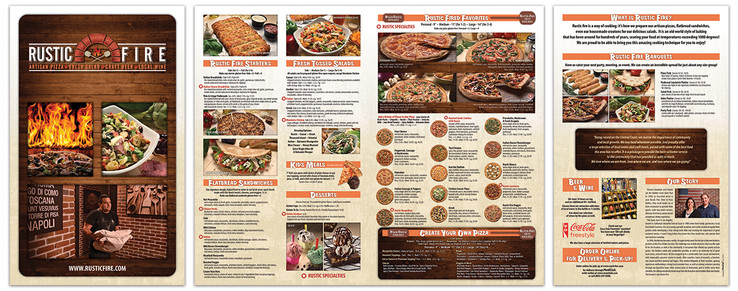 Rustic Fire menu spread