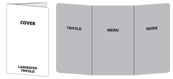 Wireframe of trifold laminated house menu