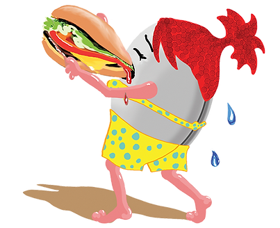Illustration of clam person eating a giant, juicy hamburger