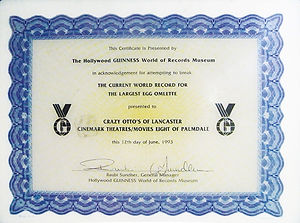 Guinness Records Certificate for attempting to break record for world's largest egg omelette in 1993