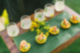 Five catering shirmp bites and five small cocktail drinks