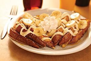 Cream cheese Fresh toast with sliced bananas and caramel cream cheese sauce