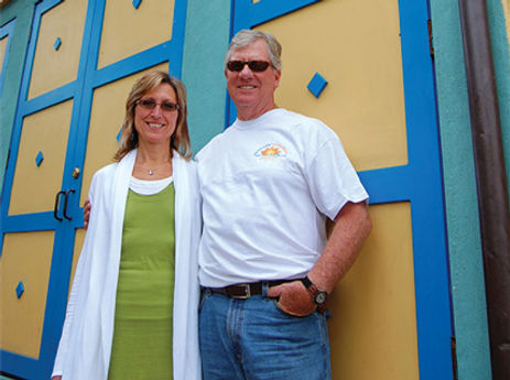 Joanne and Ross Currie standing in front of Splash Cafe building in San Luis Obispo