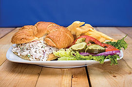 Seafood Croissant with fries