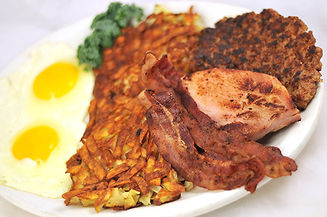 Crazy Combo: 2 fried eggs, hash browns, bacon, ham, and sausage patty