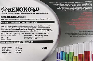 De-Greasing Fluid Renoko Mining & Engineering
