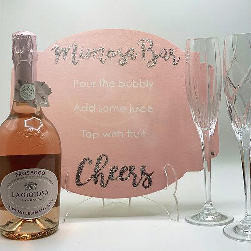 Glitter + Pink Mimosa Bar Sign