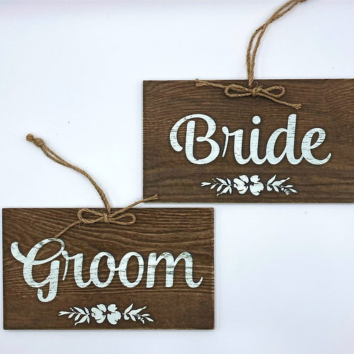 Wooden Bride & Groom Signs