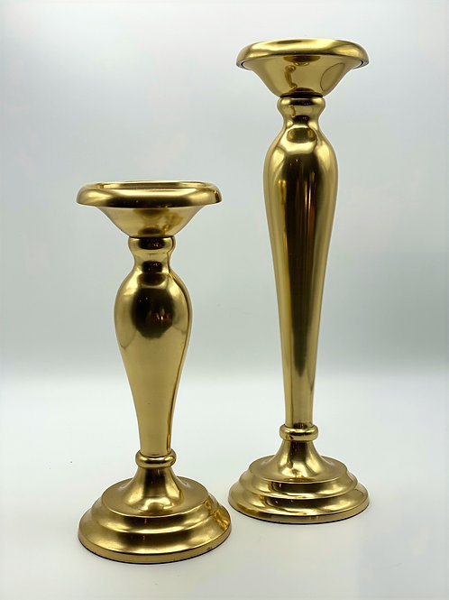 Gold Candle Pillars - 2 Sizes
