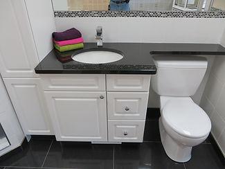 vanity cabinet with granite banjo top