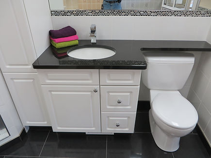 granite banjo top with linen tower an vanity cabinet