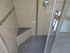 walk in tile shower & custom glass door