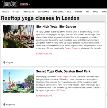Time Out, The Best Roof Top Yoga Classes