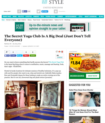 "Huffington Post, ""Secret Yoga Club is a"
