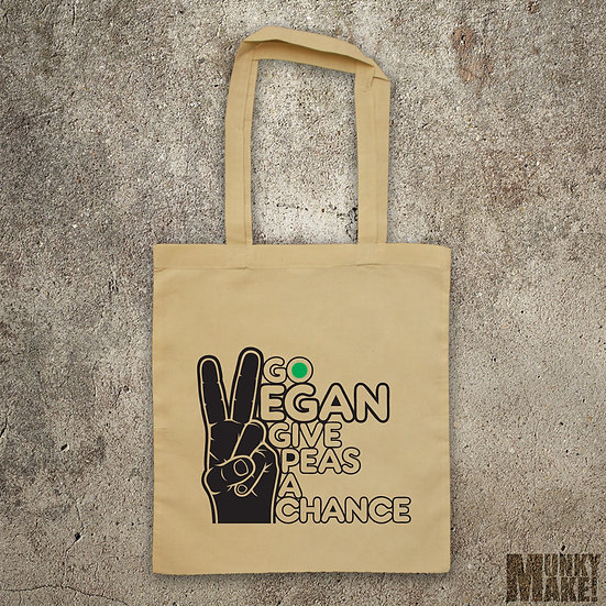 GO VEGAN - GIVE PEAS A CHANCE - TOTE BAG