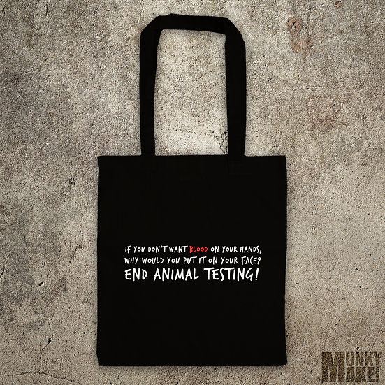 BLOOD ON YOUR FACE - End the testing - TOTE BAG
