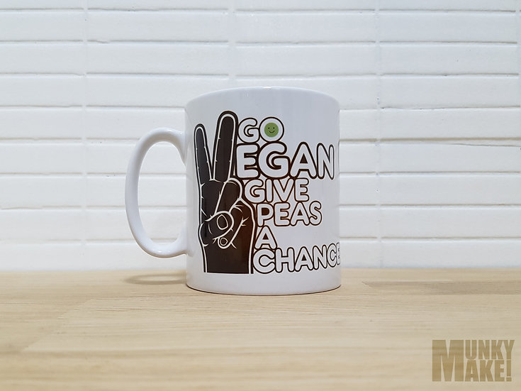 GO VEGAN, GIVE PEAS A CHANCE - MUG