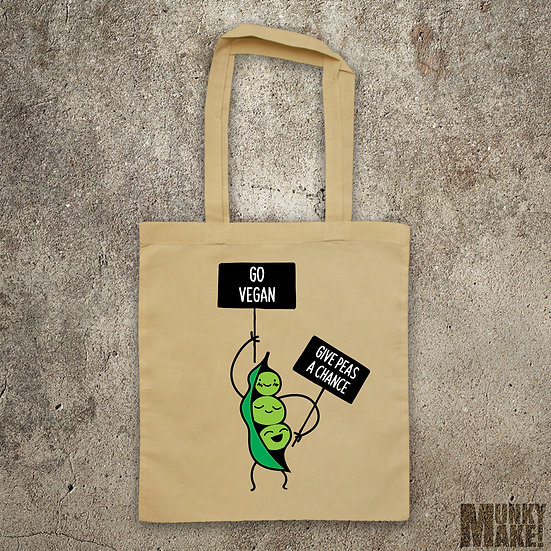 PEA PROTEST - GO VEGAN GIVE PEAS A CHANCE - TOTE BAG