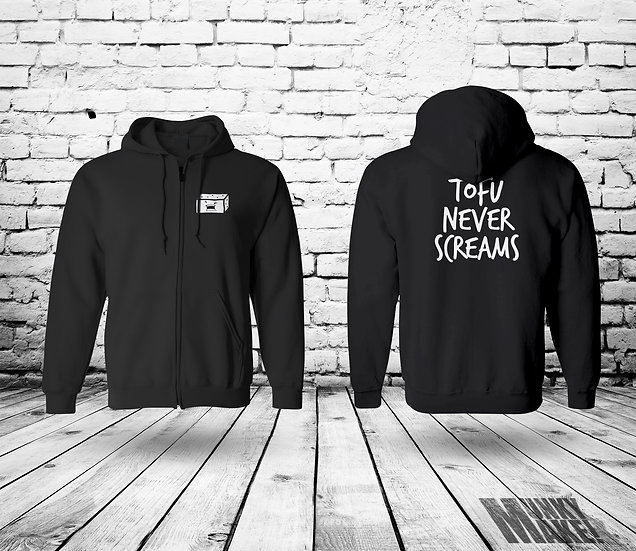 TOFU NEVER SCREAMS - UNISEX ZIP HOODIE