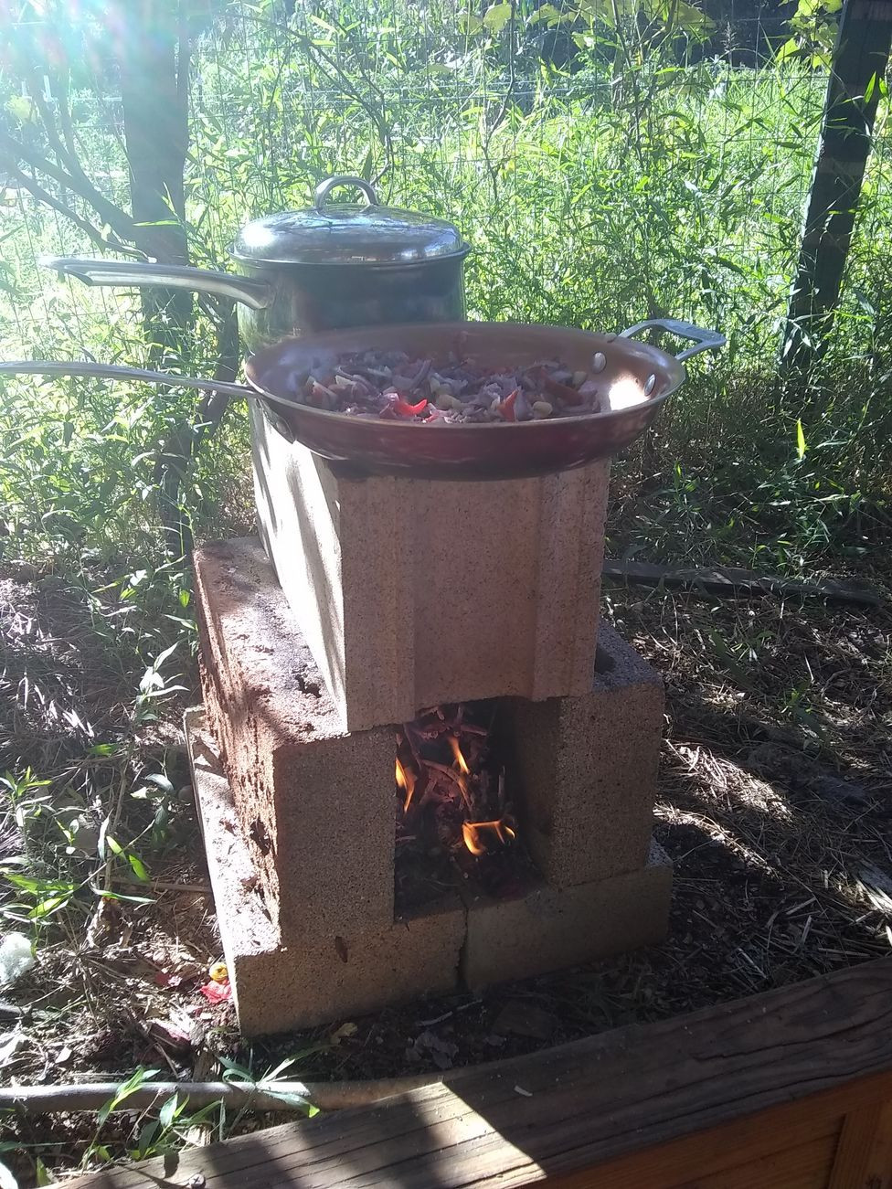 rocket stove made of cinder blocks