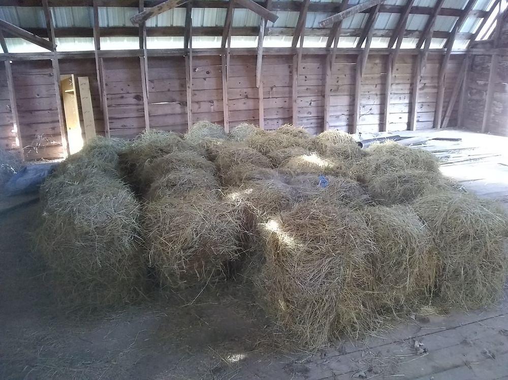 Hand-made hay bales.