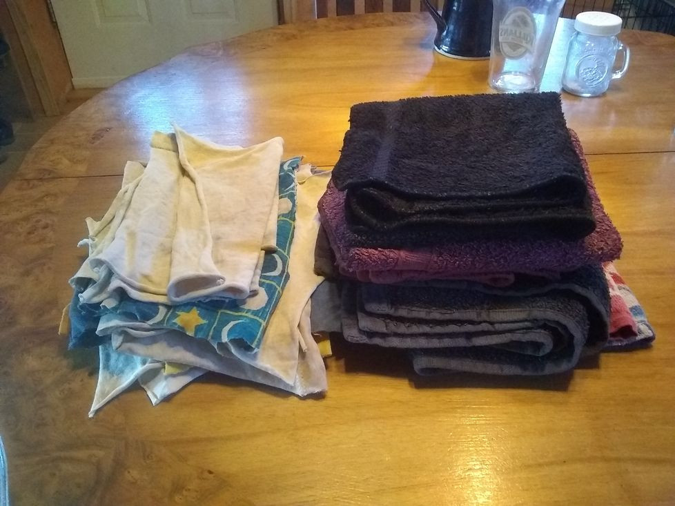 Cotton rags and hand towels to replace paper towels