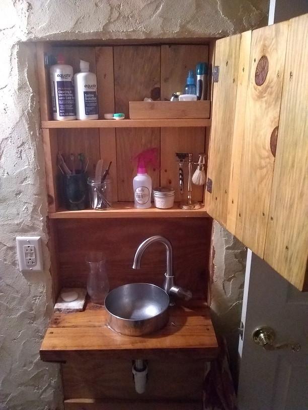 a unique bathroom cabinet