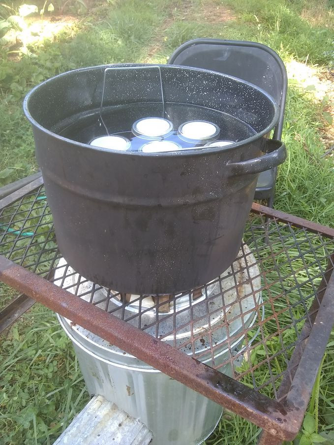 Water bath canning on a rocket stove