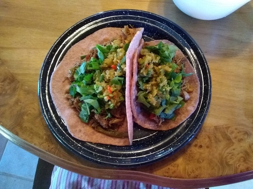 goat carnitas with home made purple tortillas
