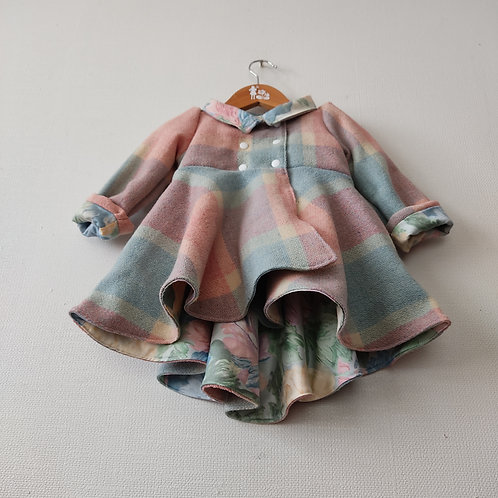 Dutchess Coat - Pink Blue Wool