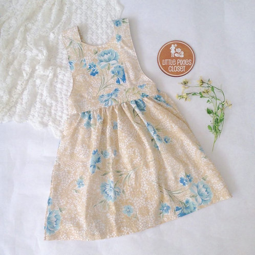 Pinafore - blue floral