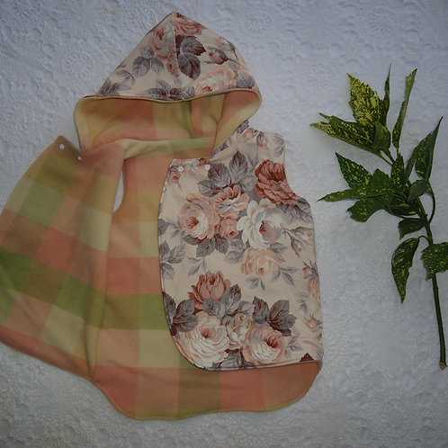 Reversible Pixie Vest - Peach Chex
